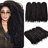 4 confezioni intrecciare i capelli estensioni dei capelli afro crespi, 18 pollici capelli torsione crochet estensioni dei capelli ricci afro marley crespi capelli sintetici (2# / nero chiaro)