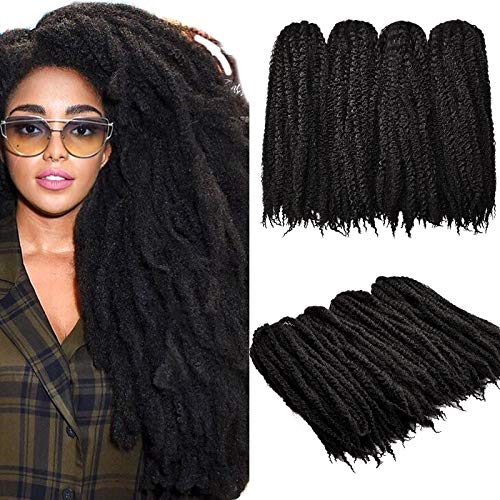 4 Packungen Flechten Haar Afro Kinky Haarverlängerungen, 18 Zoll Twist Haar Häkeln Afro Marley Kinky Locken Haarverlängerungen Synthetisches Haar (2# / Hellschwarz)