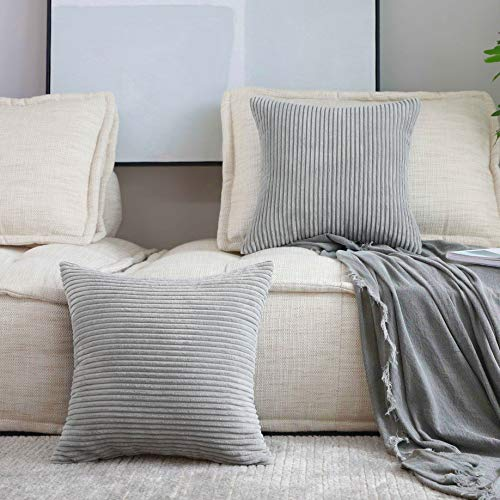 Home Brilliant Throw Pillow Covers 18 x 18 Set of 2 Striped Velvet Corduroy Gray Couch Pillow Covers Decorative Pillows for Couch Chair Bed, Light Grey, 45x45cm