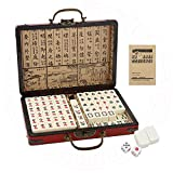 Dyna-Living Chinese Majong Set, Solid Structure Easy To Read Mah Jongg Game,144PCS Mahjong Tile Set , 2PCS Dice & Leather Carrying Case Box, Complete Majong Game Sets for Travel Party Family Game