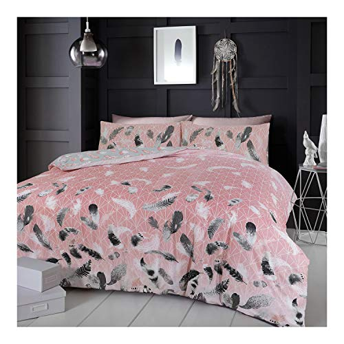 Lions Feathers Bedding Set, 3 Pcs Poly Cotton Duvet Cover King Size Bed with Pillowcase, Ultra Soft, Blush-Pink