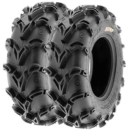 Pair of 2 SunF A050 AT 25x8-12 ATV UTV Deep Mud Terrain Tires, 6 PR, Tubeless