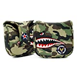 19th Hole Custom Shop Fighter Plane High-MOI Mallet Putter Headcover, Heel Shaft, Camouflage, Golf Head Cover