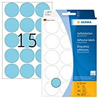 Herma 32 mm Marking Dots Labels in Matt Round Paper - Blue (480 Labels)