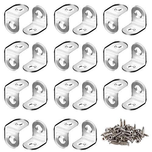 FOGAWA 50pcs Soportes de Esquina en Forma L Estante de Ángulo Recto de Metal Escuadra Pequeña de 2 Agujeros 90 Grado para Reforzar y Reparar Muebles de Madera con 100 Tornillos (Plata)