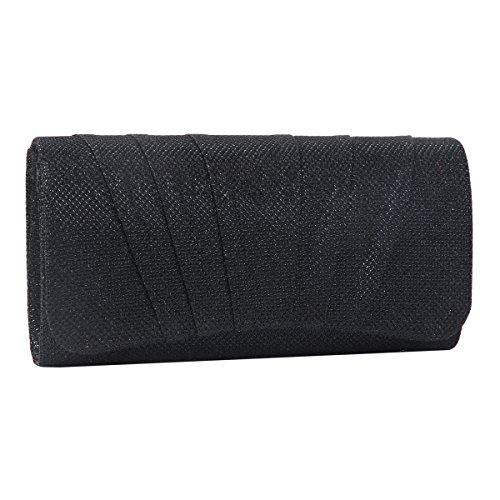 Damara Shimmert Mitte Falten Damen Clutch Handtasche,Schwarz