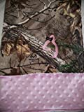 Baby RealTree Camouflage Travel blanket,pink dot minky,Super soft Fleece camo and minky,double sided,reversible,deer hunting camo,Personalized baby gift,swaddling,receiving
