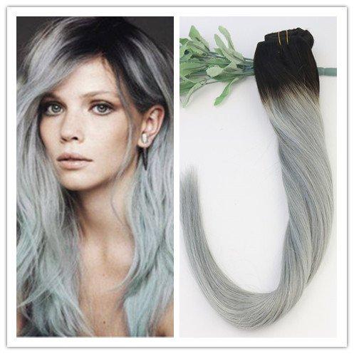 Lot de 9 extensions de cheveux raides 100 % humains Couleur ombrée 1B/argent 35,6 cm, 40,6 cm, 45,7 cm, 50,8 cm, 55,9 cm, 70 g