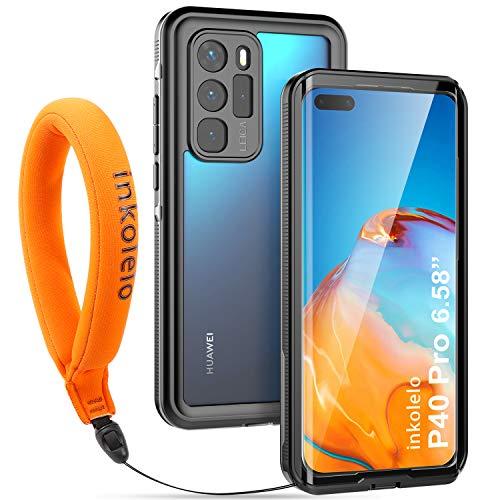 inkolelo wasserdichte Hülle für Huawei P40 Pro Schutzhülle Ganzkörper Unterwasser Wasserdicht IP68 Schale Wasserschutzhülle mit Schwimmender Schlüsselband für Huawei P40 Pro (Mattschwarz/Orange)