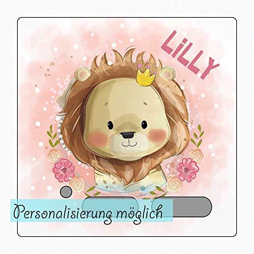 My Sweetheart® Tonie Schutzfolie Toniebox Folie Aufkleber personalisiert mit Namen Löwe mit Krone wischfest kratzfest Schutz LED durchscheinend