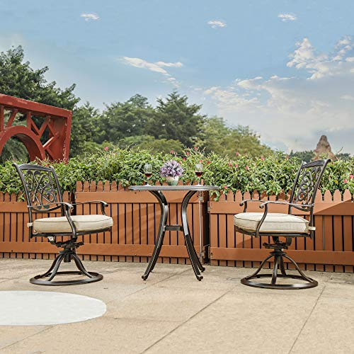 dali 3 Piece Bistro Set, Cast Aluminum Dining Table Patio Glider Chairs Garden Backyard Outdoor Furniture