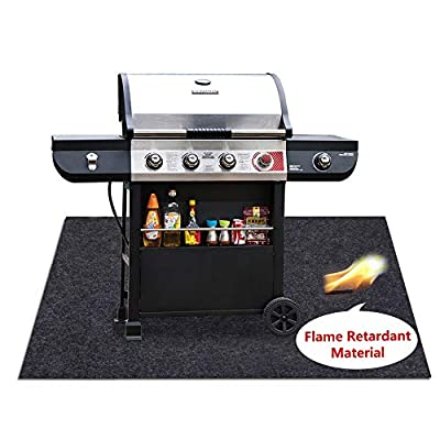 Missstore Under Grill Flame Retardant Mats,BBQ Grilling Gear for Gas,Absorbing Grill Pads,Durable Washable Floor mat Protect Decks and patios from Grease Splatter and Other Messes