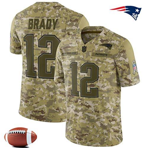 YWEIWEI Männer Fußballtrikot -NFL Camo Salute to-Service - Stickerei-Kurzschluss SleeveSport Trikots T-Shirt Rugby Tom Brady-XXXL
