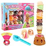 MCPINKY Ice Cream Game, Ice Cream Cone Playset Sweet Treats Ice Cream Parlour Toy Frozen Dessert Ice Cream Tower Balancing Game Pretend Play Food for Kids Birthday Gift