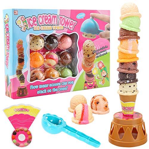 MCPINKY Ice Cream Game, Ice Cream Cone Playset Sweet Treats Ice Cream Parlour Toy Frozen Dessert Ice Cream Tower Balancing Game Pretend Play Food for Kids Birthday Gift