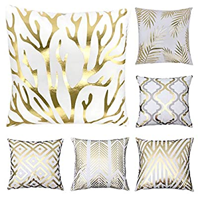 Tebery 6 Pack Gold Stamping Throw Pillow Covers Cases Soft Square Decorative Cushion Covers for Sofa,Couch - 18 x 18 Inches