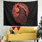 Firelife Wikinger Runen Wolf Wandteppich Wandbehang Tuch Dekotuch Tapestry Tapisserie Schöne Wanddeko für Schlafzimmer Wohnzimmer Strandtücher Yogamatte
