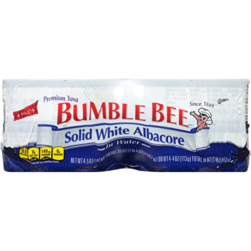BUMBLE BEE Solid White Albacore Tuna in Water, Pack of 4, 5 Ounce Cans, (Case of 6), Wild Caught, Canned Tuna Fillet, Tuna Fish in Water, High Protein, Keto Food, Keto Snack, Gluten Free, Paleo Food