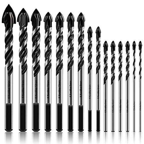 K Kwokker 15Pcs Masonry Drill Bits Set 3mm to 16mm, Ultimate Drill Bits for Glass, Ceramic, Marble, Plastic, Brick, Tile, Wood, Professional Tungsten Carbide Paddle Shaped Tip Triangle Alloy