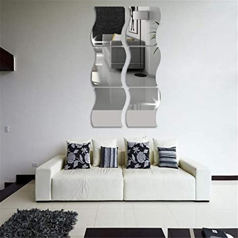 6PCS 3D Wavy Mirror Wall Stickers Mirror Art DIY Home Decorative Acrylic New