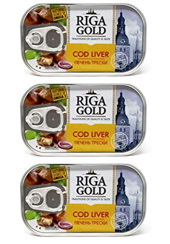 Riga Gold Cod Liver in Own Oil 4.27oz/ 121g From Iceland pack of 3