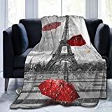 60'X50' Comfort Throw Blankets Ultra Soft and Fluffy Blankets Throw Blankets for Couch and Living Room Fall Winter and Spring - Retro Cityscape Paris Eiffel Tower with Red Umbrella Blankets