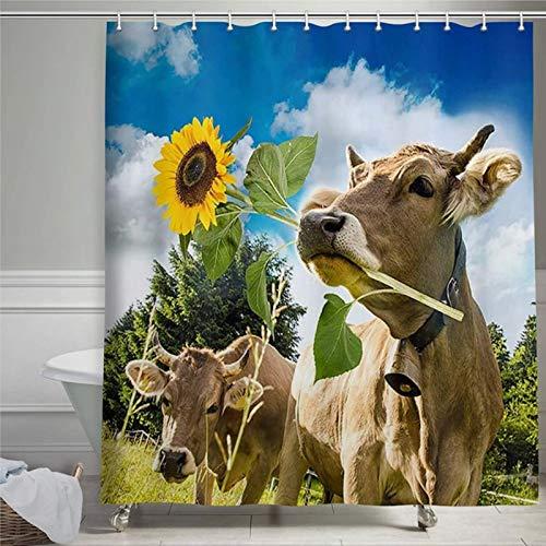 Kuh Duschvorhang Bauernhof Tier Kuh mit Sonnenblume Natur Duschvorhang lustig Kinder gelb Bauernhaus Duschvorhang mit Ringen Polyesterstoff Duschvorhänge mit Haken Bad Badezimmer Dekor