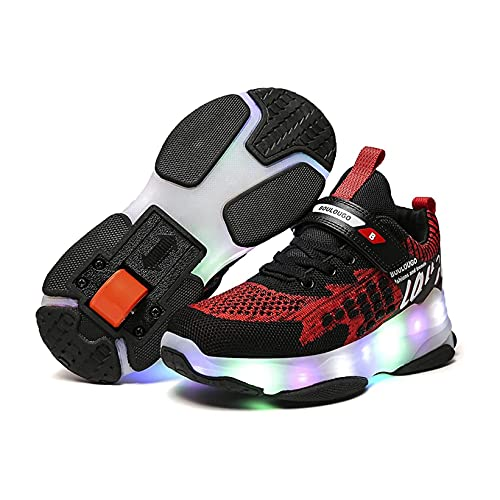 ZZX Patines Ruedas para Niños, Una Sola Rueda Led Patines Intermitentes Deportes Aire Libre Zapatos Gimnasia Niños Niñas, Regalos Principiantes,Black-34