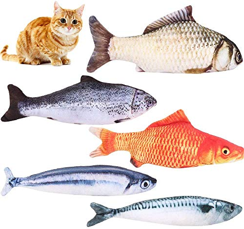 5pcs Catnip Fish Toys for Kat, Catnip Interactive Fish Toy Cat Chew Toys Plush Fish tandverzorging Cat Mint Toys for Indoor Cats, Dogs