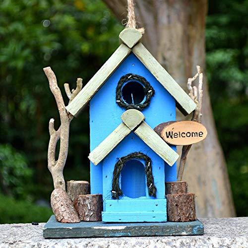 Vogelhaus Hölzernes hängendes Vogelhaus for den Garten einzigartige Neuheit Vogel Nistkasten Garten-Dekorationen Bird Hotel Cabin for Wild Birds Hauptdekorationen ( Color : Blue , Size : Free size )