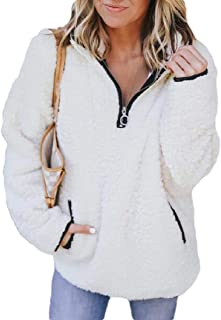 Macondoo Women's Fall Winter Pullover 1/4 Zip Oversize Coat Fluffy Jackets