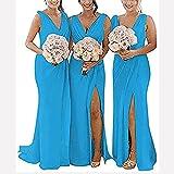 yhfshop Mujer Vestidos de Fiesta con Encaje,Vestido de Noche con Abertura en Gasa y Cuello de Pico con Doble Hombro-Ocean Blue_32,Larga de Cóctel Vestido en