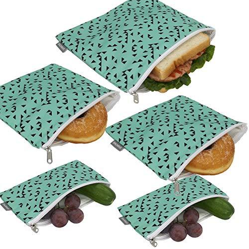 Wiederverwendbare Snack-Taschen, Sandwich-Beutel, doppellagig, umweltfreundlich, spülmaschinenfest, Lunch-Tasche, BPA-frei, PVC-frei, Set mit 5 Stück (Dreieck)