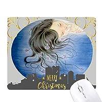 ブルーオーキッドファンタジーの女の子のイラスト クリスマスイブのゴムマウスパッド