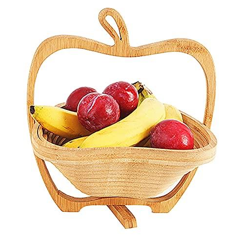 TAMRG Frutero de madera de bambú, cesta plegable, tabla de cortar, cesta...