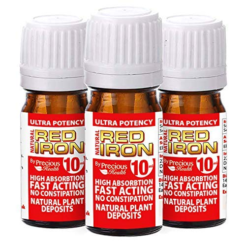 Ultra Potent High Strength Natural Red Iron 3 x 10ml, Triple Pack, Quickly Restoring Iron Levels – Fast-Acting Top Strenght Iron Supplement – No Artificial Colour Preservatives or Additives