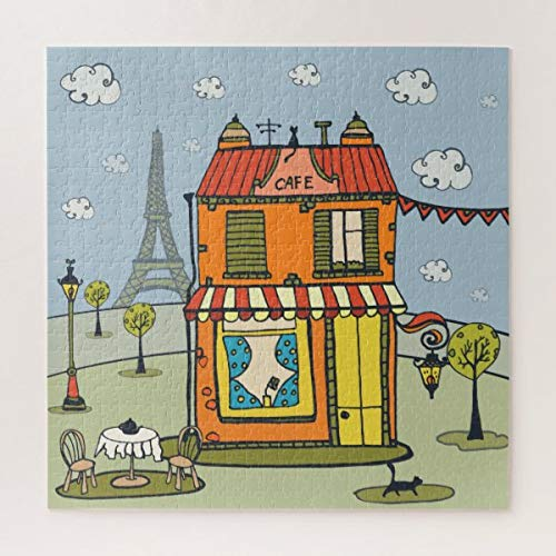 CICIDI Paris a France Cafe Jigsaw Puzzle 1000 Pieces for Adult, Entertainment DIY Toys for Graet Gift Home Decor