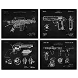 Vintage AR15, Colt 1911, Tommy Gun, Peacemaker Black Patent Poster Prints, Set of 4 (8x10) Unframed Photos, Wall Art Decor Gifts Under 20 for Home, Office, College Student, Teacher, NRA & Movies Fans