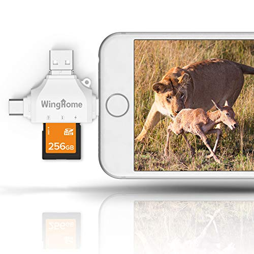 WingHome 4 in 1 Externe Kartenlesegeräte SD/Micro SD/TF Karten Leser für iPhone & Android, Wild Kamera-Adapter Viewer zum Abspielen von Fotos und Videos