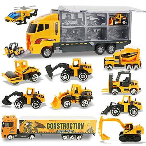 Jenilily 12 in 1 Baufahrzeug Autos Konstruktionsfahrzeuge Bagger Spielzeug Baustellen LKW Spielzeugautos Gabelstapler für Kinder