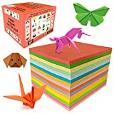 Origami Paper Double Sided Construction Paper 1100 Sheets by Yeomi–Colored Craft Paper for Kids in Vivid Colors – Origami Kit for Gift, Arts and Crafts, 6 Inch Each with 15 Color Varieties
