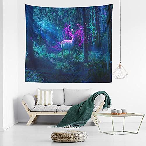 Tapiz de pared de bosque de fantasía decoración artística manta cortina colgante hogar dormitorio decoración de sala de estar poliéster H150xW200cm