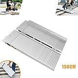 AGWa Portátil plegable de aluminio de rampa, para el hogar Puertas Escaleras Pasos Vespa Utilidad de Movilidad de Acceso antideslizante de superficie, 90cm,150 CM