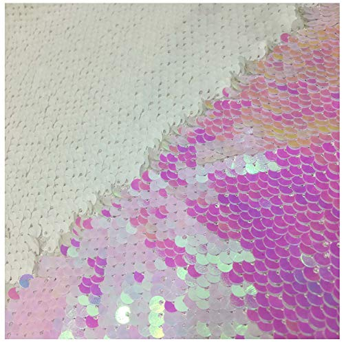 LQIAO Mermaid Sequin Fabric Color Changing Reversible Shimmer Flip Up Fabric Emboriderly Sold by Half of Yard Changed White