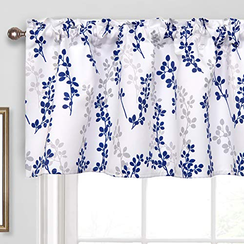 Th3mys Tree Branch Leaves Valance for Windows, Botanical Printed Valance Rod Pocket Window Curtain Valance for Living Room Bedroom Kitchen 52 by 18 Inch Navy Blue