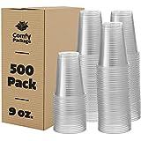 Comfy Package [Pack de 500-250ml - 9 oz] - Vasos Desechables de plástico Transparente - para Fiestas