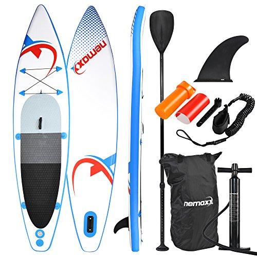 nemaxx Tabla de paddel Surf Sup 335x74x15 cm, Azul/Rojo - Tabla de Paddle Board - Tabla de Surf - Hinchable con Mochila, remos, Aletas, Bomba de Aire, Kit de reparación, Correa para pie.