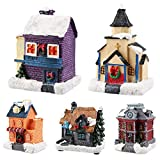 globalqi Christmas Winter Village Houses with LED Light up, Christmas Figurines Accessories for Villages Landscape Accessory Set