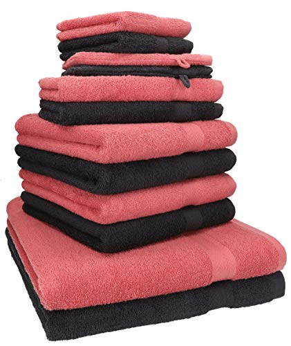 Betz Lot de 12 Serviettes Premium 2 draps de Bain 4 Serviettes de Toilette 2 Serviettes d'invité 2 lavettes 2 Gants de Toilette 100% Coton Couleur Graphite et Framboise