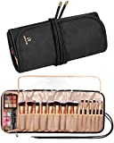 Relavel Makeup Brush Rolling Case Makeup Brush Bag Pouch Holder Cosmetic Bag Organizer Travel Portable Cosmetics Brushes Black Leather Case with Small Clear Bag